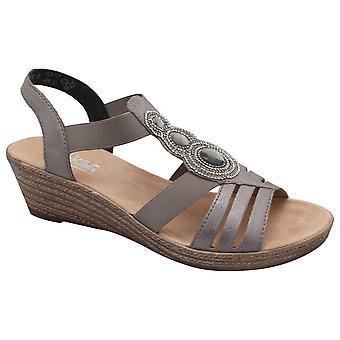 Diamante detalhe sandália Wedge Rieker feminino