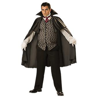 Mens Midnight Vampire Plus Size Dracula Film Halloween Fancy Dress Costume