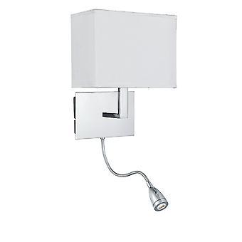 Soporte de pared brazo doble cromo con brazo flexible de LED - reflector 6519CC