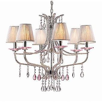 Ideel Lux - Violette krom og glas seks lys lysekrone IDL015439
