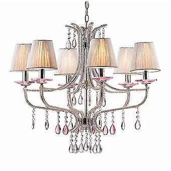 Ideale Lux - Violette chroom en glas zes lichte kroonluchter IDL015439