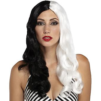 سينيستريس أسود أبيض شعر مستعار للنساء