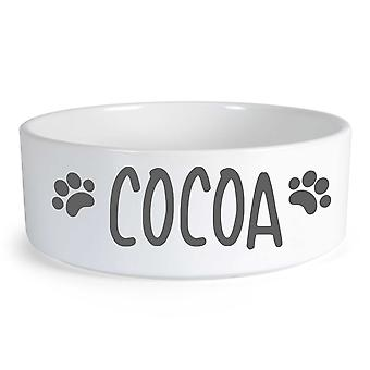 Peronalised Dog Grey Text Large Ceramic Dog Bowl