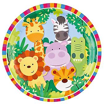 Jungle dyr Party plate 23 cm 8 Piece Safari Adventure barnas Wedstag