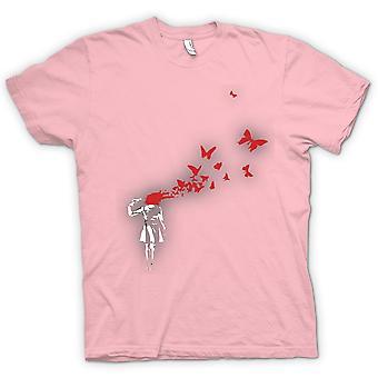 Herr T-shirt - Banksy graffitikonst - Butterly