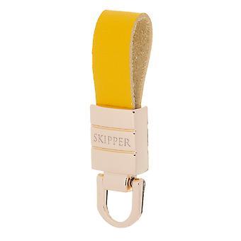 Skipper colgante llavero cuero / acero inoxidable oro / amarillo 8068