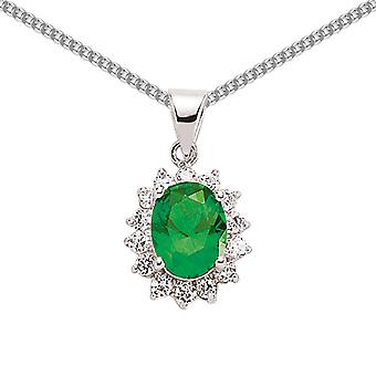 Jewelco London Rhodium Plated Silver Green White Oval and Round Cubic Zirconia Royal Cluster Pendant Necklace 18