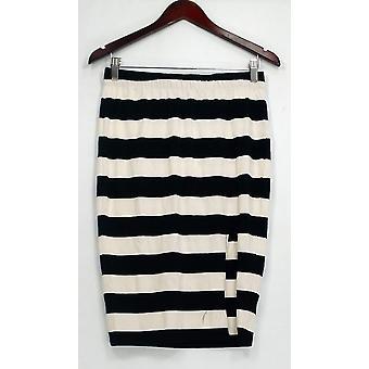 Bardot Skirt Stretch Knit Striped w/ Front Slit Black