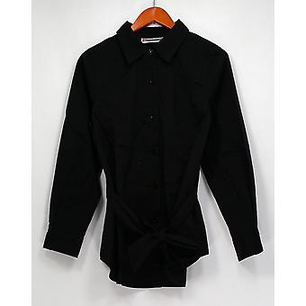George Simonton Top Polished Button Front Shirt Black A295203