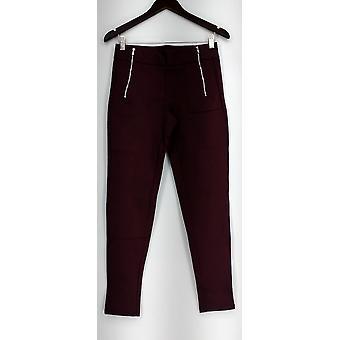 Slimming Options Leggings Knit Pull On Burgundy Red