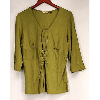 Motto 3/4 Sleeve Tee w/ Gather Front & Knot Detail Green Top A92535