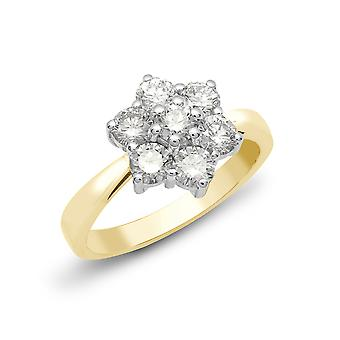Jewelco London Solid 18ct 2 Colour Gold Claw Set Round G SI1 2ct Diamond 7 Stone Flower Cluster Ring 14mm