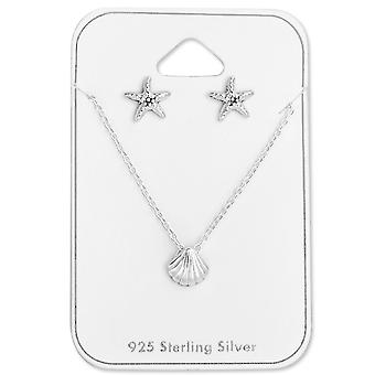 Shell & Starfish Set - 925 Sterling Silver Sets - W28962x