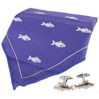 David Van Hagen Fish Handkerchief and Cufflink Set - Blue/White