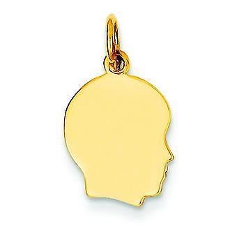 14 k バラ右彫刻用少年頭魅力に直面してゴールド プレーン小型.013 計