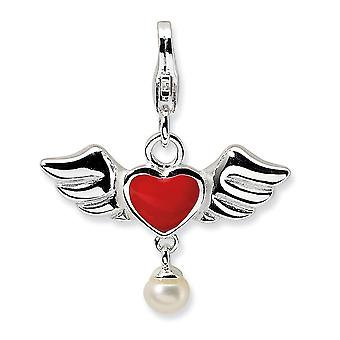 925 Sterling Silver Solid Polished Reversible Fancy Lobster Closure 3 D Winged Red Love Heart Freshwater Cultured Pearl