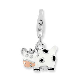925 Sterling Silver Fancy Lobster Closure Rhodium plated Enameled Cow With Lobster Clasp Charm Pendant Necklace Jewelry