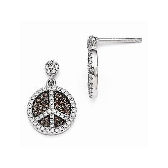 925 Sterling Silver Pave Brown Rhodium verguld en CZ Cubic Zirconia Gesimuleerde Diamond Brilliant Embers Vrede Teken Bungelen