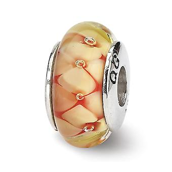 925 Sterling Silver Polished finish Reflections Yellow Floral Murano Glass Bead Charm Pendant Colar de Jóias Para