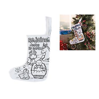 12 Mini Colour Your Own Fabric Christian Nativity Christmas Stockings