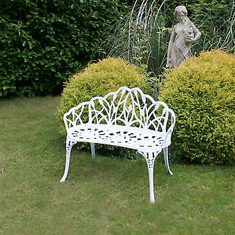 Charles Bentley wit Tulip Cast Aluminium metaal 2 zetels tuin Patio zitbank