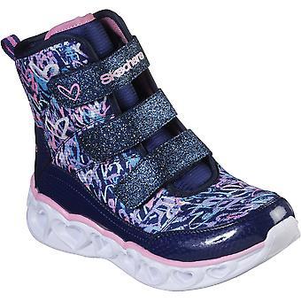Skechers الفتيات أضواء القلب خربشة قلوب أحذية Hightops