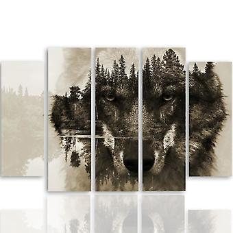 Five Part Picture On Canvas, Pentaptych, Type B, The Wolf Forest Background - Brown