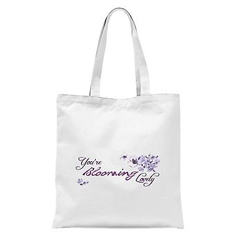 You're Blooming Lovely Tote Bag - White