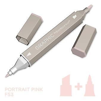 Grafisch door spectrum Noir enkele pennen-portret roze