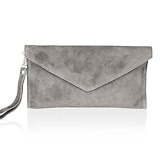 "Suede 12"" Clutch Bag Stud Front Removable Shoulder Strap"