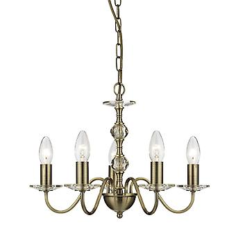 Monarch - 5 Light Ceiling, Antique Brass With Stack Clear Glass Balls & Glass Sconces