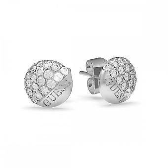 Guess Jewellery Guess Silver Pave Round Button Stud Earrings UBE78048