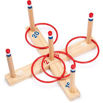 Ring Toss Game - Classic Wooden Set with 4 Plastic Rings