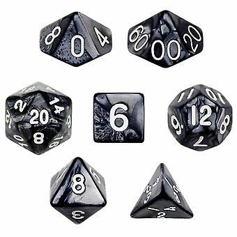 7 Die Polyhedral Dice Set in Velvet Pouch - Smoke
