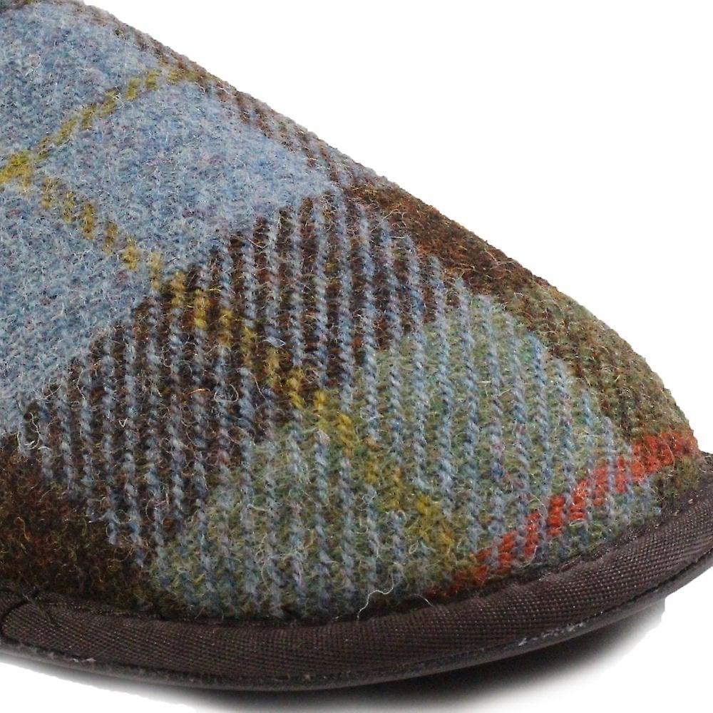 Cotswold Lidstone Navy Tartan Wool Mens Slip On Mule Slippers