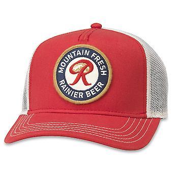 Rainer Beer Red And White Adjustable Mesh Snapback Trucker Hat