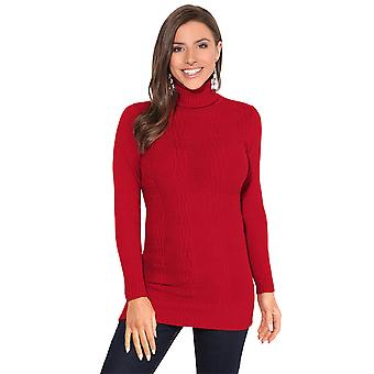 KRISP Frauen Roll Neck Jumper Kabel stricken lange Turtleneck Pullover Pullover Top Casual