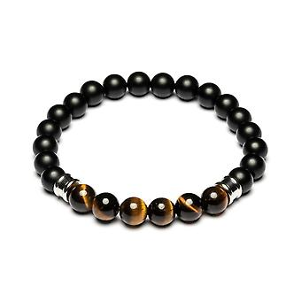 Pulsera Gemini M4 - Melas Black Pearls y Maroon Tiger Eye Men