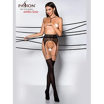 Passion Mock Suspender Open Gusset Tights