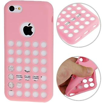 For iPhone 5C Back Case, Grippy Hollow Dot Durable Shielding Cover,Pink