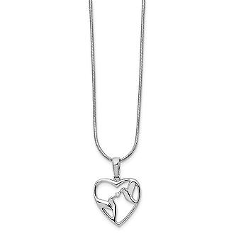 White Ice Diamond Bird and Love Heart Necklace 18 Inch Jewelry Gifts for Women - .010 dwt