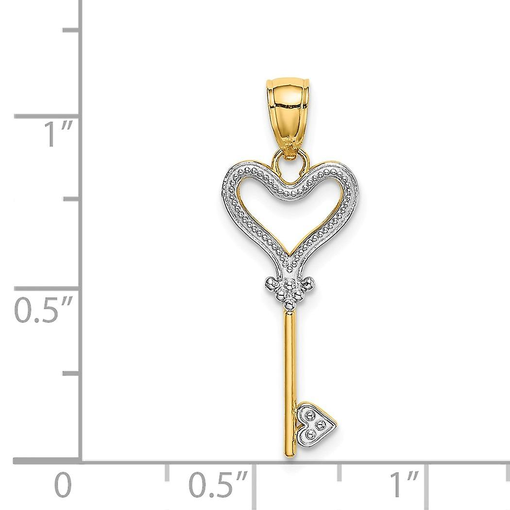 10mm 14k With Rhodium Love Heart Pendant Necklace Topped Key W Rhod and Textured Jewelry Gifts for Women
