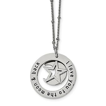 Stainless Steel Polished I Love You To The Celestial Moon Necklace 20 Inch Jewelry Gifts for Women