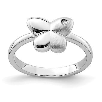 925 Sterling Silver Polished and Satin CZ Cubic Zirconia Simulated Diamond Butterfly Angel Wings Ring - Ring Size: 3 to