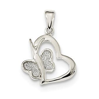 15.6mm 925 Sterling Silver Polished Glitter Enamel Love Heart With Butterfly Angel Wings Pendant Necklace Jewelry Gifts