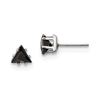 Acier inoxydable poli 6mm Triangle noir CZ Cubic Zirconia Simulated Diamond Stud Post Boucles d'oreilles Bijoux Bijoux pour Wom