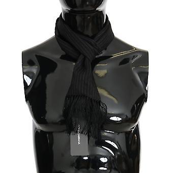 Dolce & Gabbana Black Wool Silk Striped Pattern Scarf