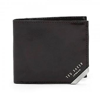 Ted Baker Korning Sort Læder Bi-Fold Tegnebog med mønt lomme