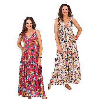 Pistachio Women's Pretty Floral Print Summer Maxi Dress