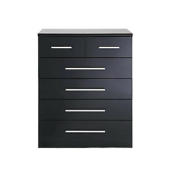 Westbury 4 + 2 Chest of Drawers with High Gloss Fronts Black